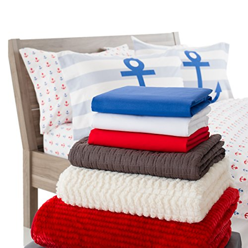 White Bedding Sheets With Red Anchors Beachfront Decor