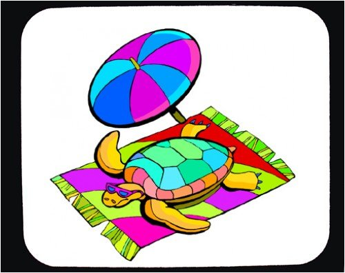 Decorated Mouse Pad with blanket, umbrella, turtle