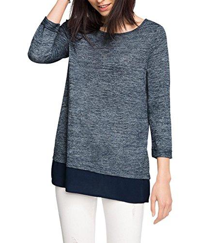 ESPRIT im Materialmix, T-shirt Donna, Blu (NAVY 400), M (Taglia Produttore: M)