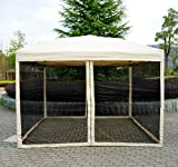 Outsunny 10' x 10' Easy Pop Up Canopy Tent w/ Mesh Side Walls - Tan