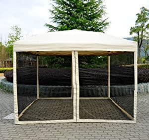 Amazon.com : Outsunny Easy Pop Up Canopy Tent with Mesh Side Walls, 10-Feet x 10-Feet, Tan : Pop ...