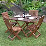 HARD WOOD GARDEN FURNITURE FOLDING SQUARE TABLE 4 CHAIRS PATIO BISTRO DINING