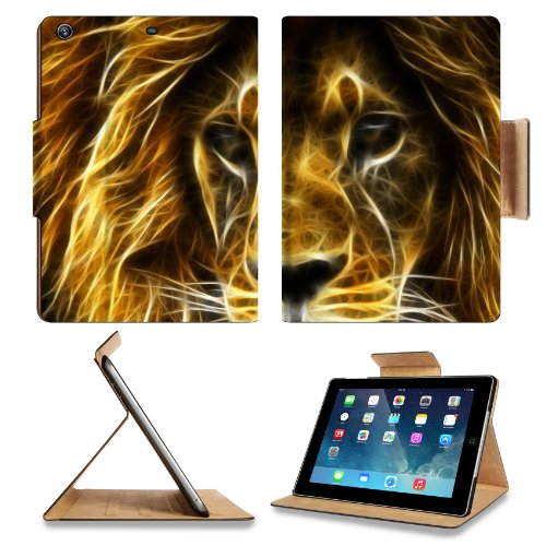 Animal Lion Wildlife Fantasy Render Pride King Predator Apple Ipad Air Retina Display 5Th Flip Case Stand Smart Magnetic Cover Open Ports Customized Made To Order Support Ready Premium Deluxe Pu Leather 9 7/16 Inch (240Mm) X 7 5/16 Inch (185Mm) X 5/8 Inch front-500417