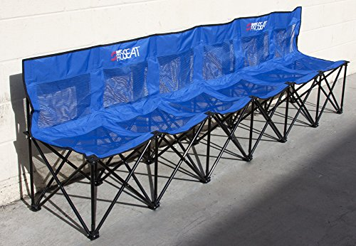 Collapsible portable folding soccer team bench - 6 seat - cover