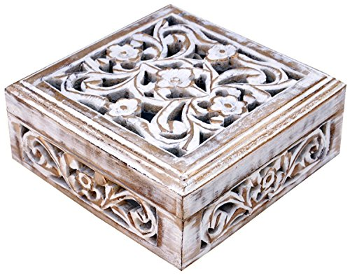 White Jewelry Box **Clearance Gifts Items** Shabby Chic Decorative Hand carved Box - 6