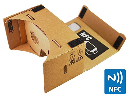 Google Cardboard 45mm Focal Length Virtual Reality Headset – With Free NFC Tag & Headstrap (Brown)
