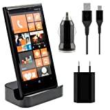 Kwmobile Micro USB docking station for Nokia Lumia 920 Black + high-quality charging set - premium design 500 mAh