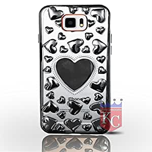 Samsung Galaxy S6 - Unique 3D Hearts for lover Cute Heart Design for Boys & Girls Transparent Soft Back Cover for Galaxy S6 - Silver Hearts