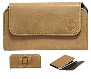 Jo Jo A4 Nillofer Belt Case Mobile Leather Carry Pouch Holder Cover Clip For ZTE Nubia Z11 Mini Tan