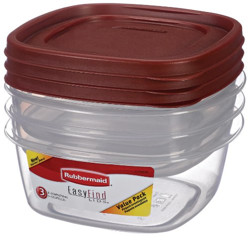 Rubbermaid 7J95 Easy Find Lid Medium Value Pack Food Storage Containers