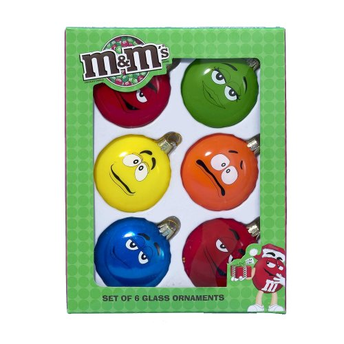 Kurt Adler MM0193 Glass M&M Candy Ornament, 6-Piece Set