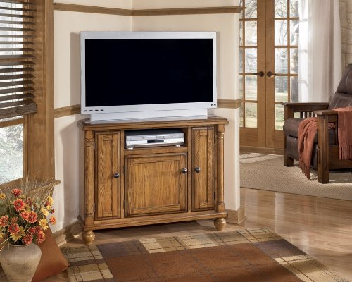 Corner TV Console by Ashley - Burnished Brown (W430-17)