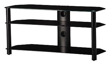 NEO 3110-NN - Mueble de TV con 3 estantes y 110 cms de ancho. Vidrio Negro / Chasis negro.