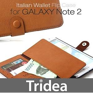 Black-Italian Wallet Flip Case for Galaxy Note2 SC-02E 専用財布型イタリアンレザー高級ケース(日本総代理店)