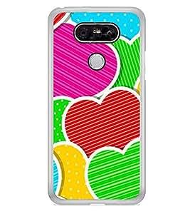 Multi Colour Hearts 2D Hard Polycarbonate Designer Back Case Cover for LG G5 :: LG G5 Dual H860N :: LG G5 Speed H858 H850 VS987 H820 LS992 H830 US992