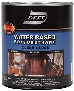 Deft interior exterior water based polyurethane finish gloss quart household paint solvents for Exterior polyurethane wood finish