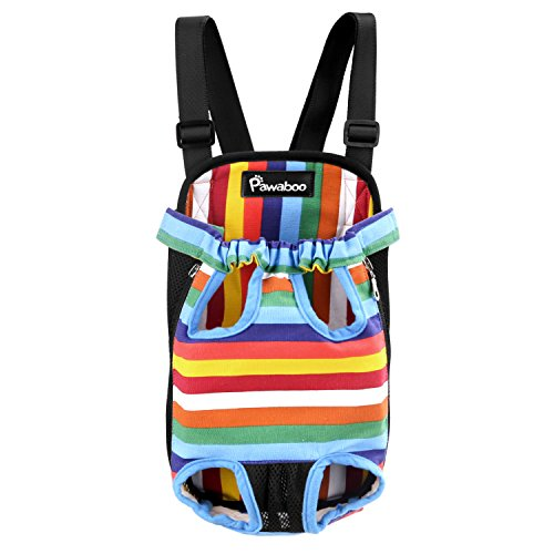 Pawaboo Pet Carrier Backpack, Adjustable Pet Front Cat Dog Carrier Backpack Travel Bag, Legs Out, Easy-Fit for Traveling Hiking Camping, Medium Size, Colorful Strips
