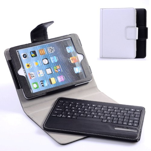 Case Mama Multifunction Pu Leather Bluetooth Keyboard Case For Apple Ipad Mini + Detachable Keyboard + Stand Function + Wake Up And Sleep Button +15 Special Keys For Ipad Mini (White)