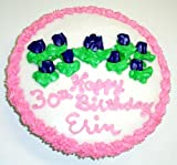 """Cookie Cake Pie with Pecan Cookie and Vanilla Cake 9"""" Green Trim and Blue Flowers"""