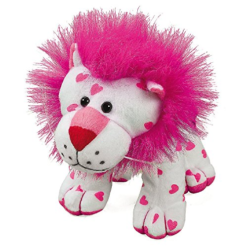 Plush Stuffed White with Pink Hearts Lion - 1