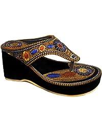 Thari Choice Womans Velvet Wedges Heel Sandal In Rajasthani Look