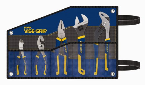 Irwin Industrial Tools 2078708 Slip Joint, Diagonal, Lineman, Adjustable Wrench and Groove Joint ProPliers Kitbag Set, 5-Piece