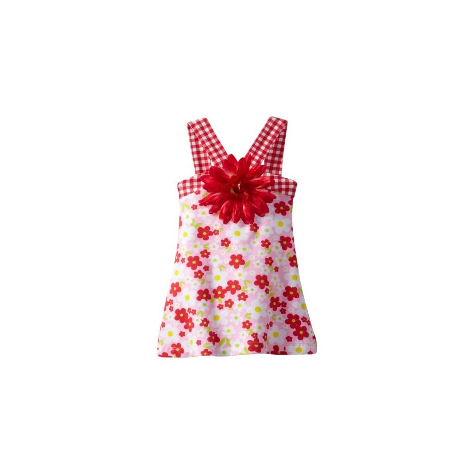 Flap Happy Baby Girls Contrast V Dress with Flower Clip