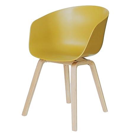 ERRU-Sillas Sillas de madera de la sala de estar de la oficina de la tabla de cena de madera (2Colors, 49.5 * 48.5 * 80cm) ( Color : Amarillo )