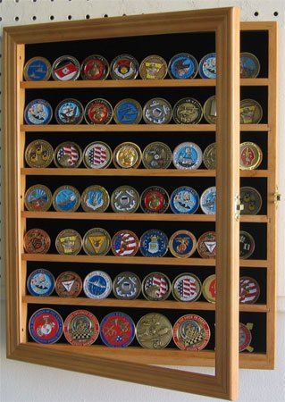 56 Challenge Coin/Poker Chip/Antique Coin Display Case Holder Cabinet - OAK Finish (COIN56-OA)
