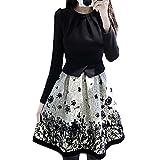 【SEBLES】レディーススリムワンピース 秋 ドレス 大きいサイズ 薄い長袖 白黒 プリント (XL)