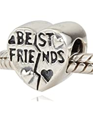 Choruslove Best Friend Forever Heart Charm 925 Sterling Silver Bead For European Style Bracelet Compatible