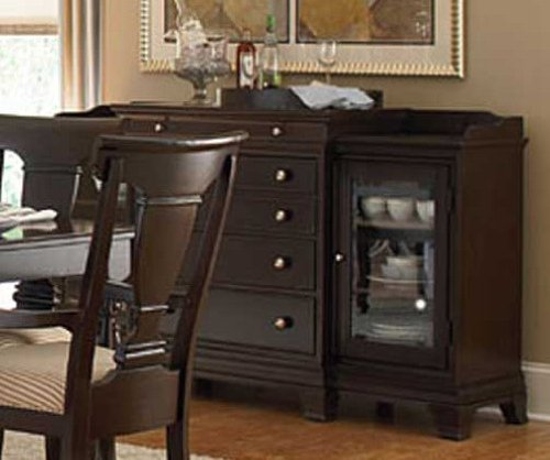 Cheap Sideboard Server with Glass Doors in Deep Cherry Finish (VF_HE1402-40)