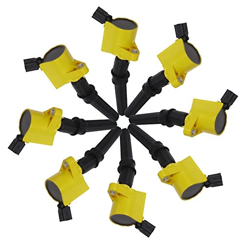 Carrep Yellow Curved Ignition Spark Plug Coil Coils (8) for Ford Crown Lincoln Mercury 5.4L 6.8L V8 DG508 FD503 (Ford Escape Lowering Spring compare prices)