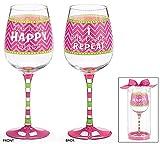 Happy Glass - Fill, Drink, Repeat - Wine Glass Happy Festive Decorative Cup