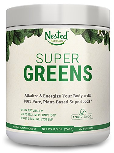 SUPER-GREENS-Veggie-Greens-Superfood-Powder-20-Organic-Ingredients-Spirulina-Chlorella-Spinach-Broccoli-Barley-Grass-More-Plus-Organic-Fruits-Probiotics-and-Enzymes-Non-GMO-No-Soy