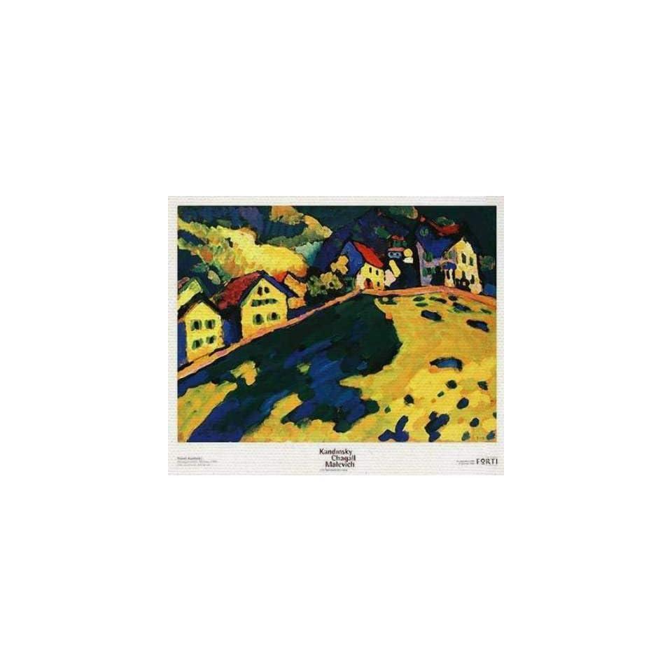 Leinwandbild auf Keilrahmen Wassily Kandinsky, Häuser am Hügel