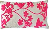 """Decorative Special Embroidery Flower & Bird Floral Throw Pillow COVER 20x12"""" Pink"""