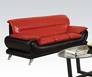Orel Stationary Sofa in Black and Red Finish by Acme Furniture