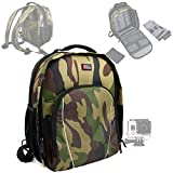DURAGADGET Camouflage Print, Water-Resistant DSLR Camera Rucksack / Backpack with Customizable Interior & Raincover for GoPRO Action Camera Series and Accessories, Including NEW GoPro HERO 4