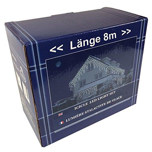 FDL Eiszapfen Lichtervorhang 160 LED kaltweiß LEDs, Kabel weiß, Höhe Eiszapfen 27 cm und 45 cm, Trafo/ 40 Strengen/ Länge 8 m 47771