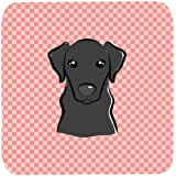 "Caroline's Treasures BB1235FC Checkerboard Pink Black Labrador Foam Coaster (Set Of 4), 3.5"" H X 3.5"" W, Multicolor"