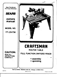 1992 Craftsman 171.254790 Router Table-Owners Manual Instructions