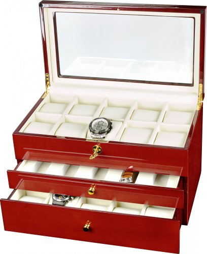 Auer Accessories Gaia 425C Watch Box For 25 Watches Cherry