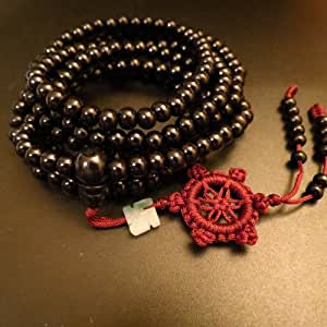 6mm*216 Buddha Black Ebony Wood Wheel Prayer Beads Buddhist Sutra Bracelet Necklace