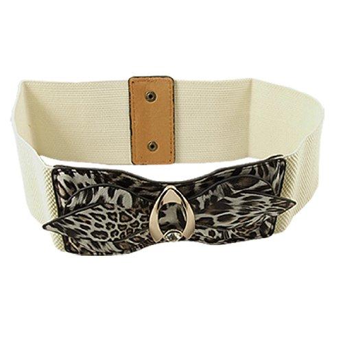 Women Leopard Pattern Faux Leather Bow Tie Elastic Waist Belt