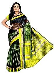 Veer Prabhu Creation Women's Cotton Saree with Blouse Piece (Black & Yellow)