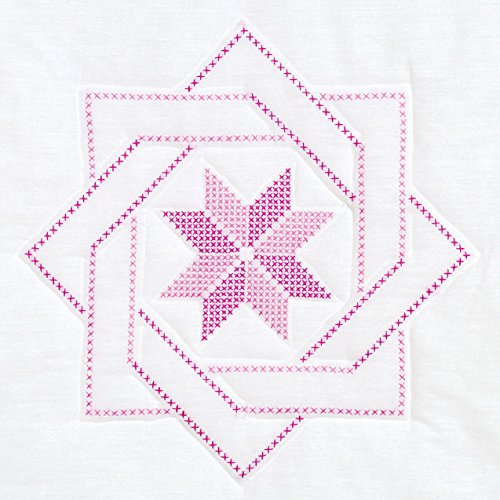 Jack Dempsey Stamped White Quilt Blocks, 18 by 18-Inch, Woven Star, 6-Pack (Cross Stitch Quilt Blocks compare prices)