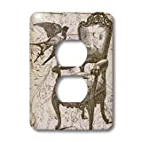 lsp_110259_6 PS Vintage - Vintage Chair and Bird Steampunk Art - Light Switch Covers - 2 plug outlet cover