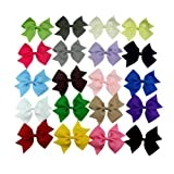 "Janecrafts 20pc 4"" Boutique Windmill Style Hair Bows Girls Baby Alligator Clip Grosgrain Ribbon Headbands"