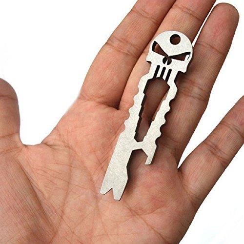 Malloom® outil de poche de survie edc crâne inox extérieure clé ouvre-anneau